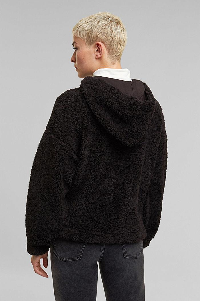 Recycled: hoodie made of teddy fur, BLACK, detail image number 3