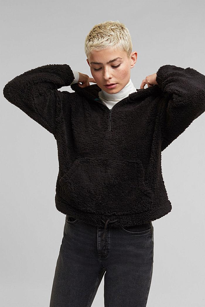 Recycled: hoodie made of teddy fur, BLACK, detail image number 5