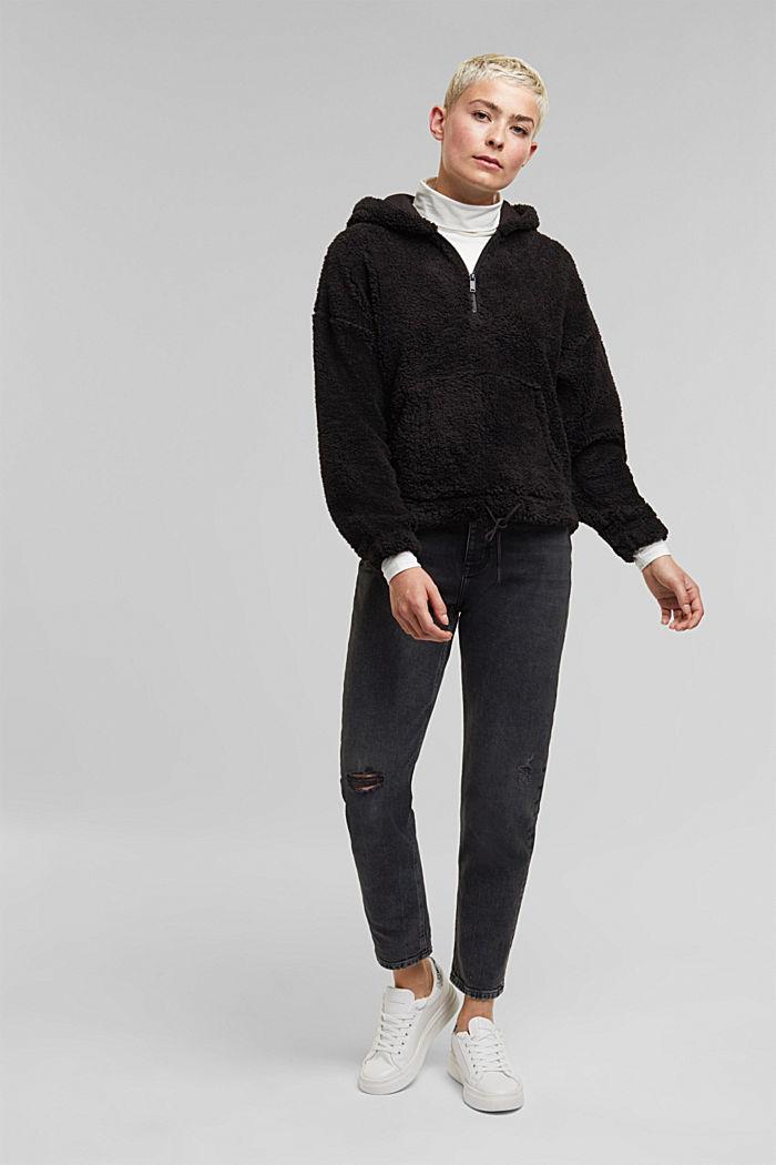 Recycled: hoodie made of teddy fur, BLACK, detail image number 1