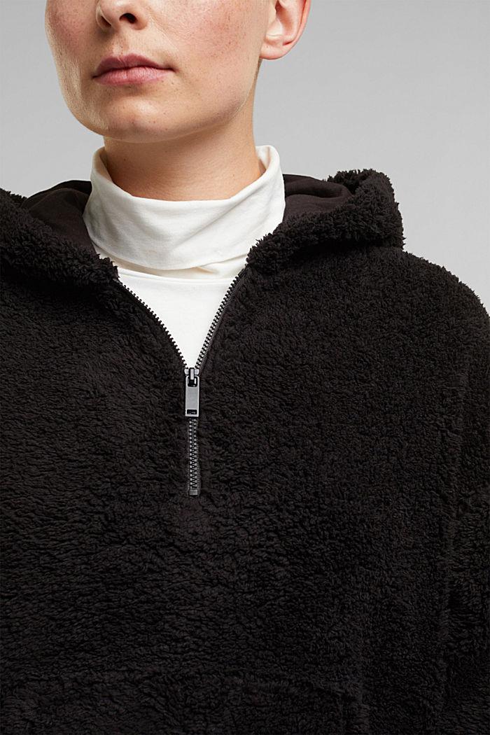 Recycled: hoodie made of teddy fur, BLACK, detail image number 2