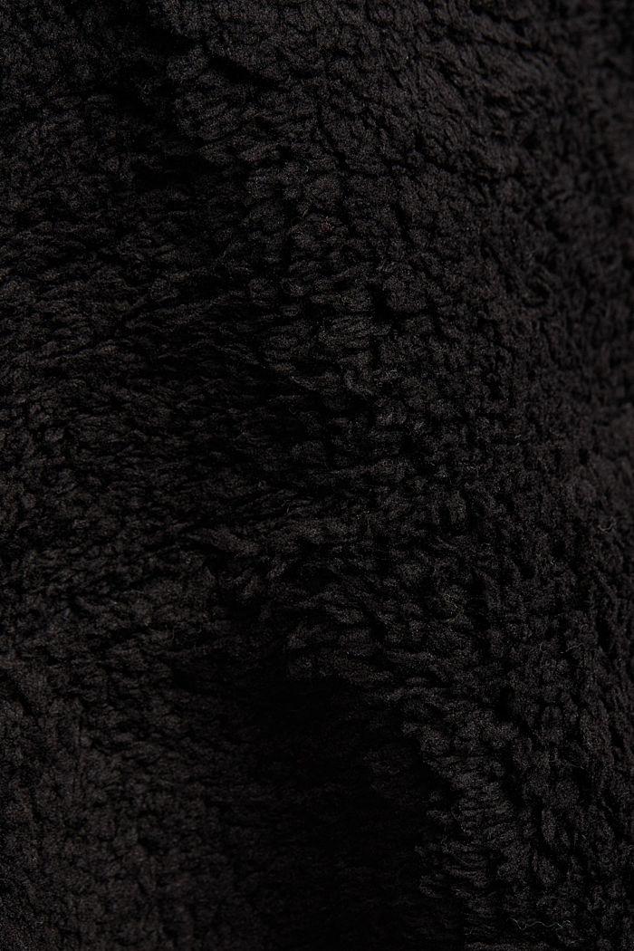 Recycled: hoodie made of teddy fur, BLACK, detail image number 4