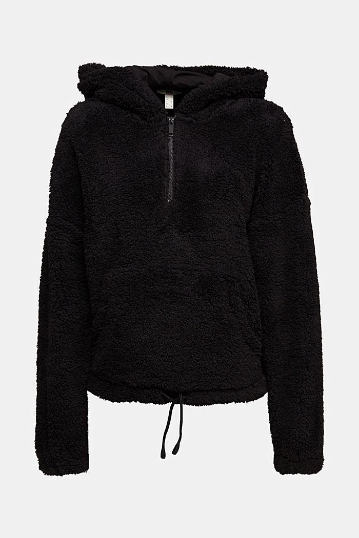 Recycled: hoodie made of teddy fur, BLACK, detail image number 6