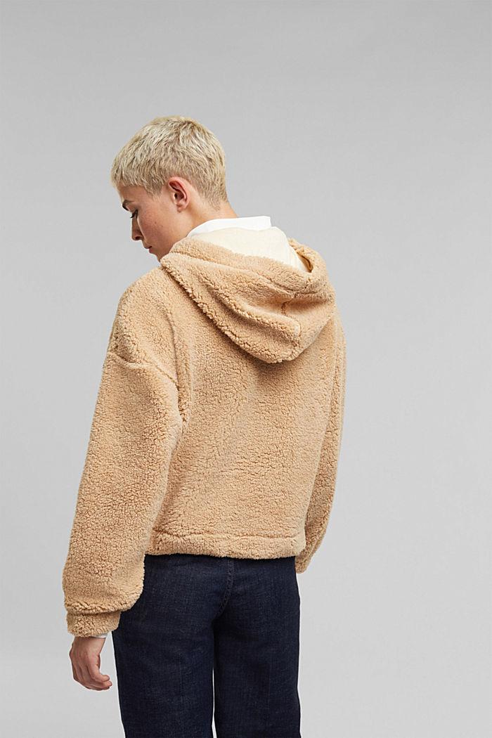 Recycled: hoodie made of teddy fur, BEIGE, detail image number 3