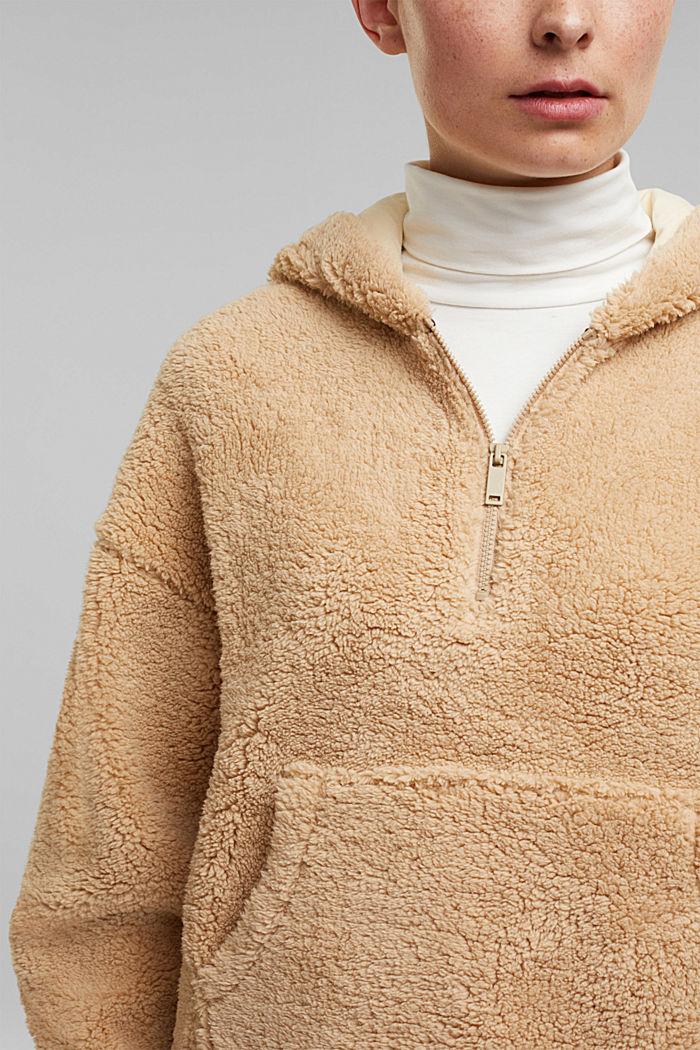 Recycled: hoodie made of teddy fur, BEIGE, detail image number 2