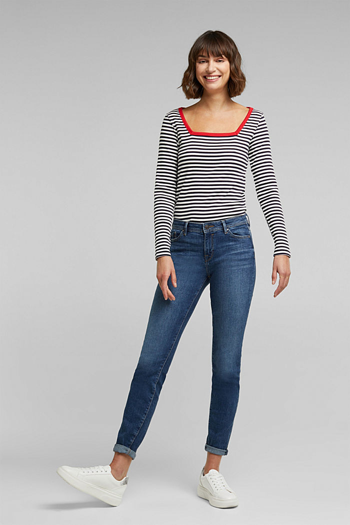 Long sleeve top with organic cotton, NAVY BLUE, detail image number 1