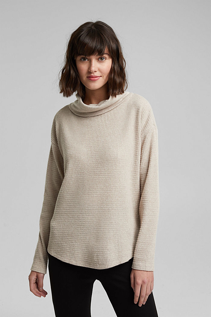 recycled: softly brushed long sleeve top, BEIGE, detail image number 0