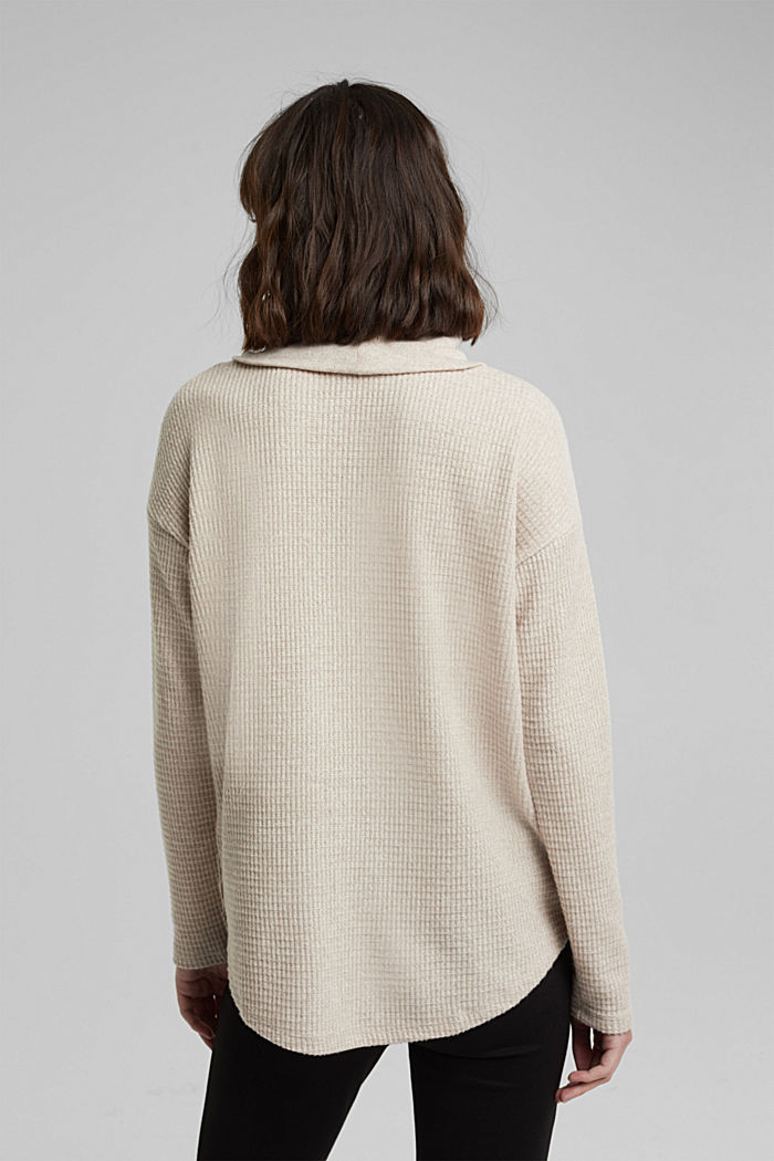 recycled: softly brushed long sleeve top, BEIGE, detail image number 3