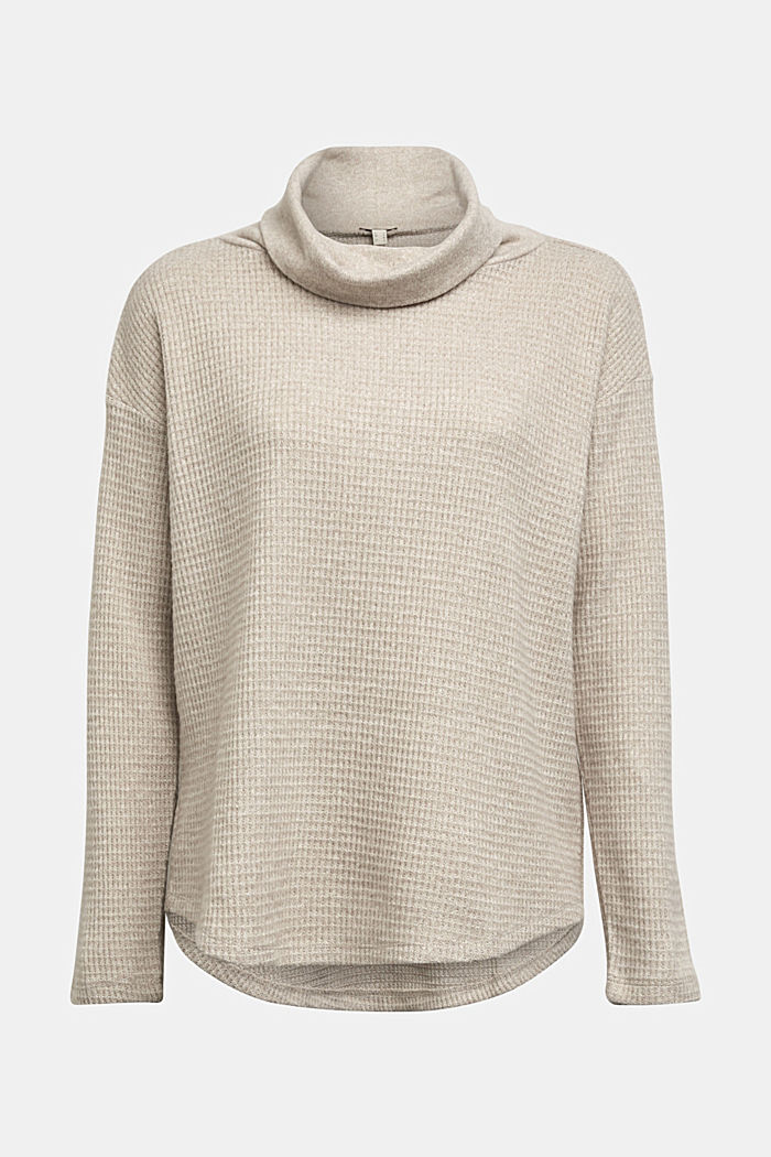 recycled: softly brushed long sleeve top, BEIGE, detail image number 5