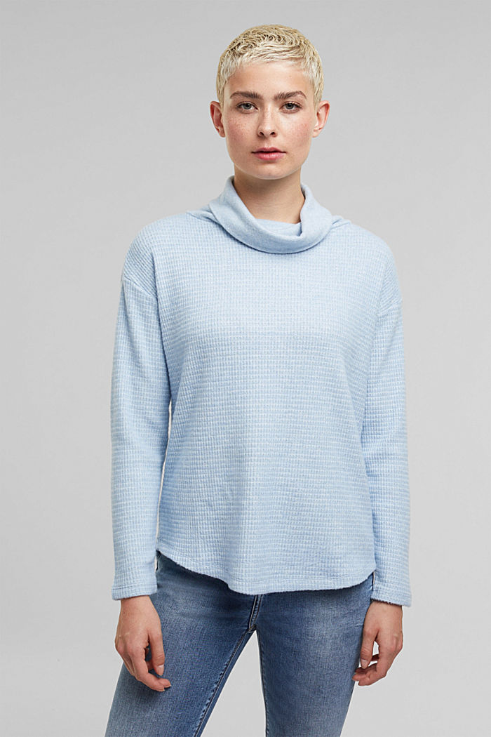 recycled: softly brushed long sleeve top, PASTEL BLUE, detail image number 0
