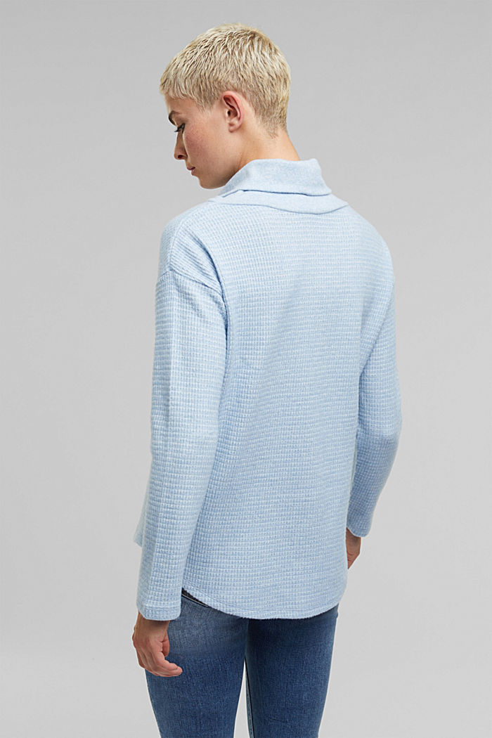 recycled: softly brushed long sleeve top, PASTEL BLUE, detail image number 3