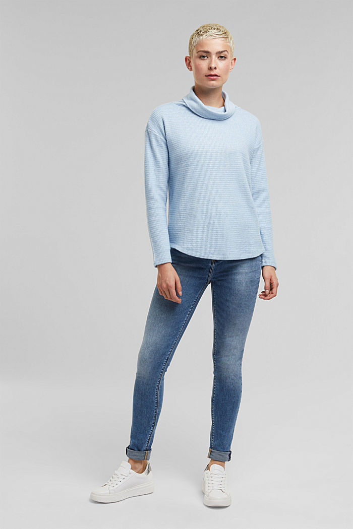 recycled: softly brushed long sleeve top, PASTEL BLUE, detail image number 1