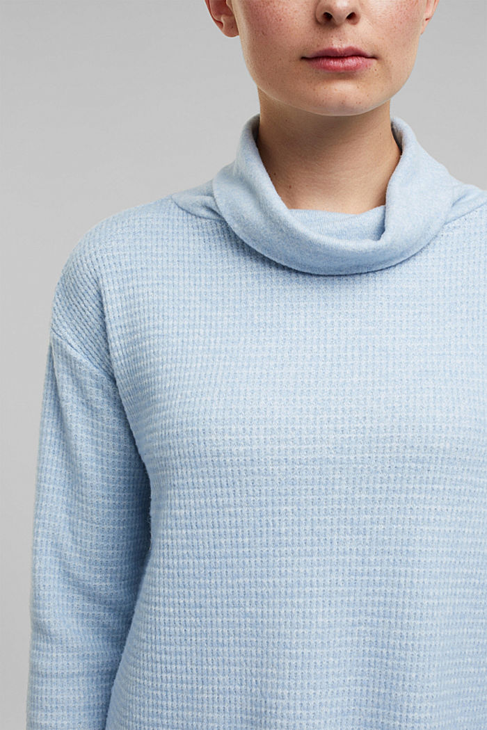 recycled: softly brushed long sleeve top, PASTEL BLUE, detail image number 2