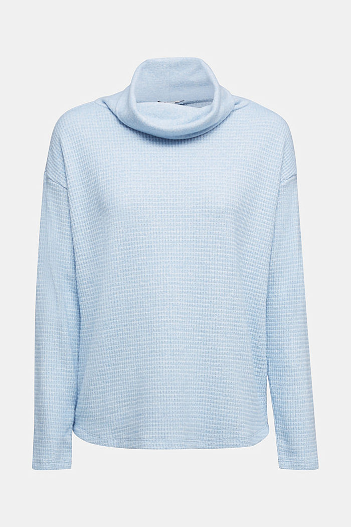recycled: softly brushed long sleeve top, PASTEL BLUE, detail image number 5