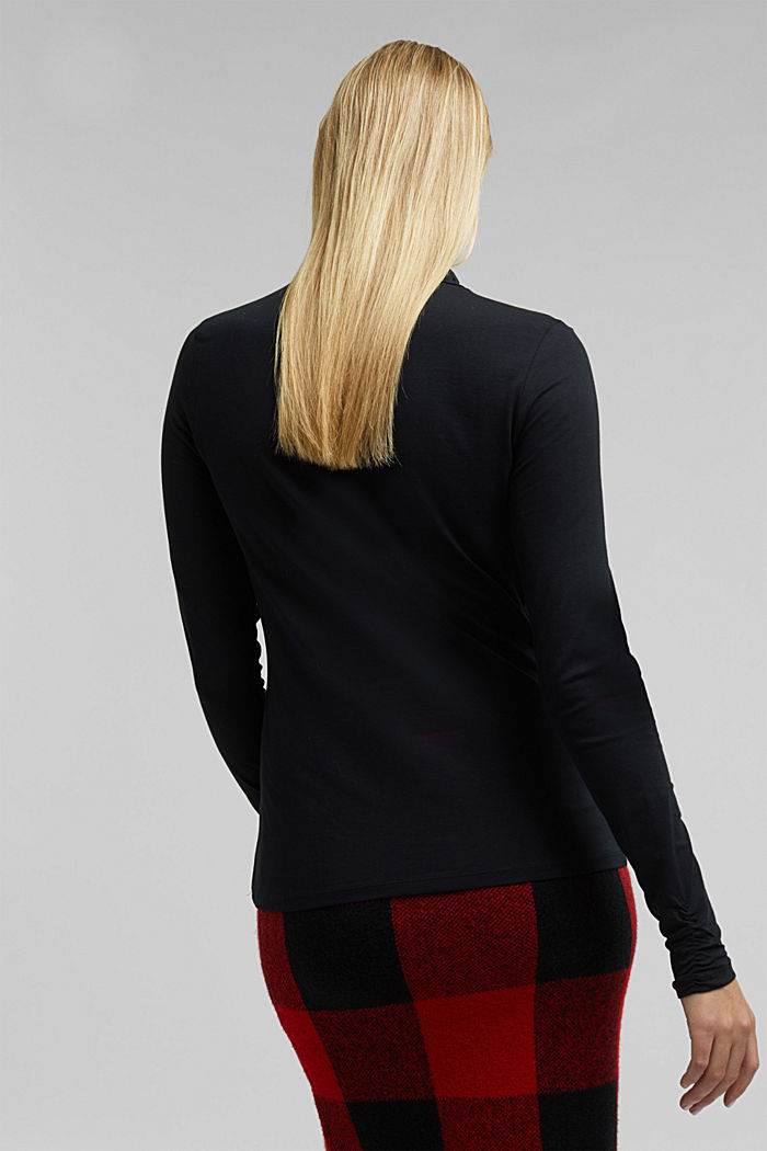 Long sleeve top with organic cotton, BLACK, detail image number 3