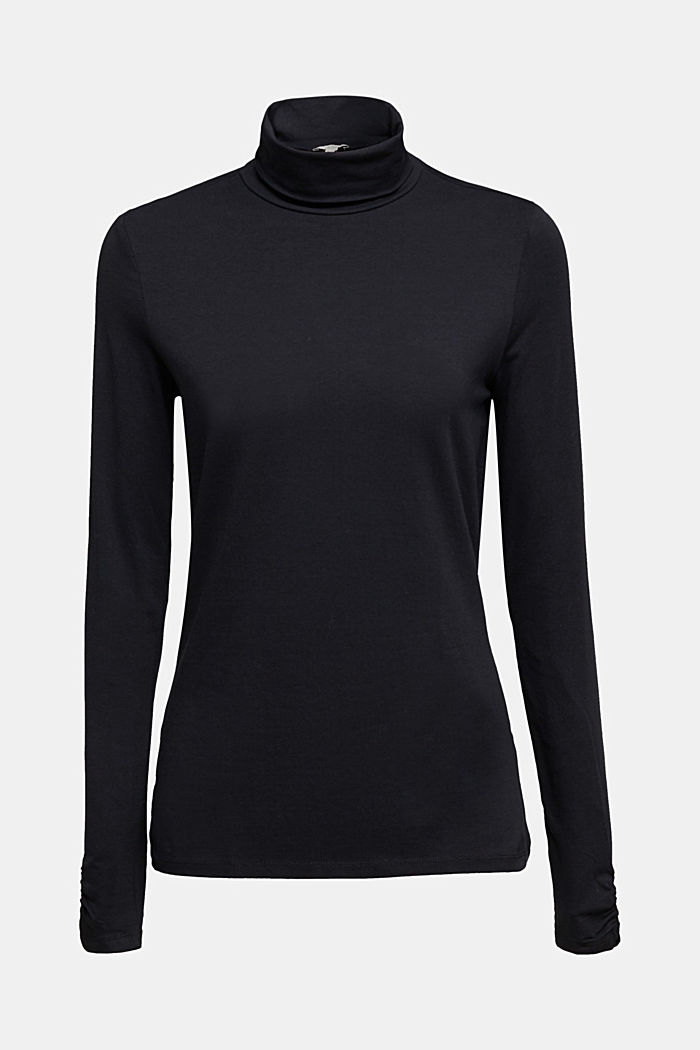 Long sleeve top with organic cotton, BLACK, detail image number 7