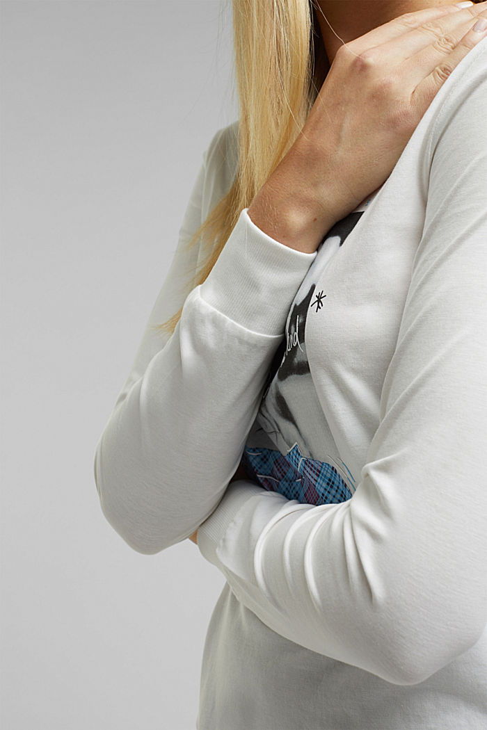 Long sleeve top made of 100% organic cotton, OFF WHITE, detail image number 2