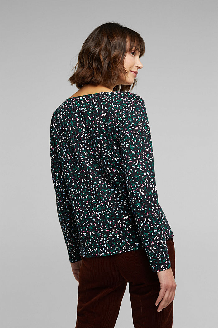 Long sleeve top made of 100% organic cotton, BLACK, detail image number 3