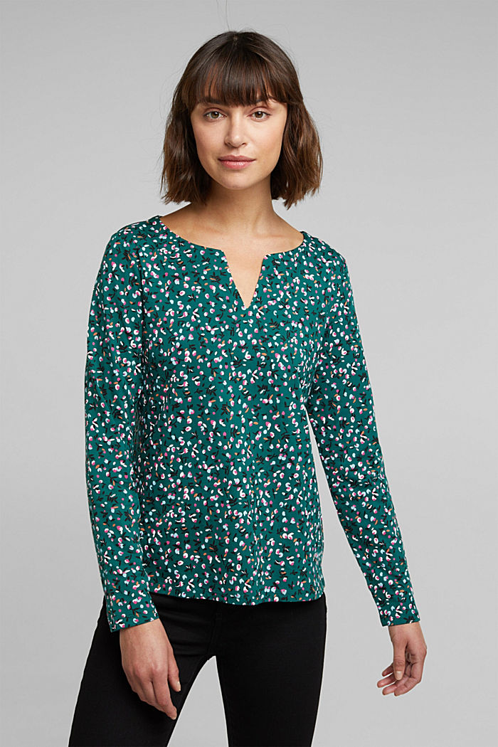 Long sleeve top made of 100% organic cotton, DARK TEAL GREEN, detail image number 0