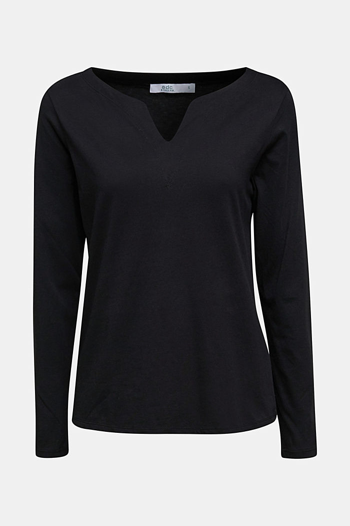 Long sleeve top made of 100% organic cotton, BLACK, detail image number 6