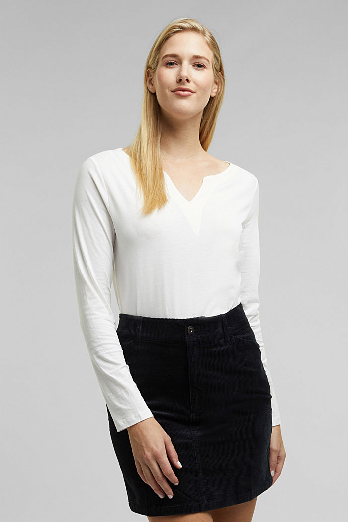 Long sleeve top made of 100% organic cotton, OFF WHITE, detail image number 0