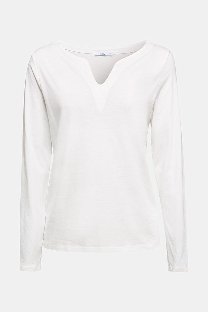 Long sleeve top made of 100% organic cotton, OFF WHITE, detail image number 7