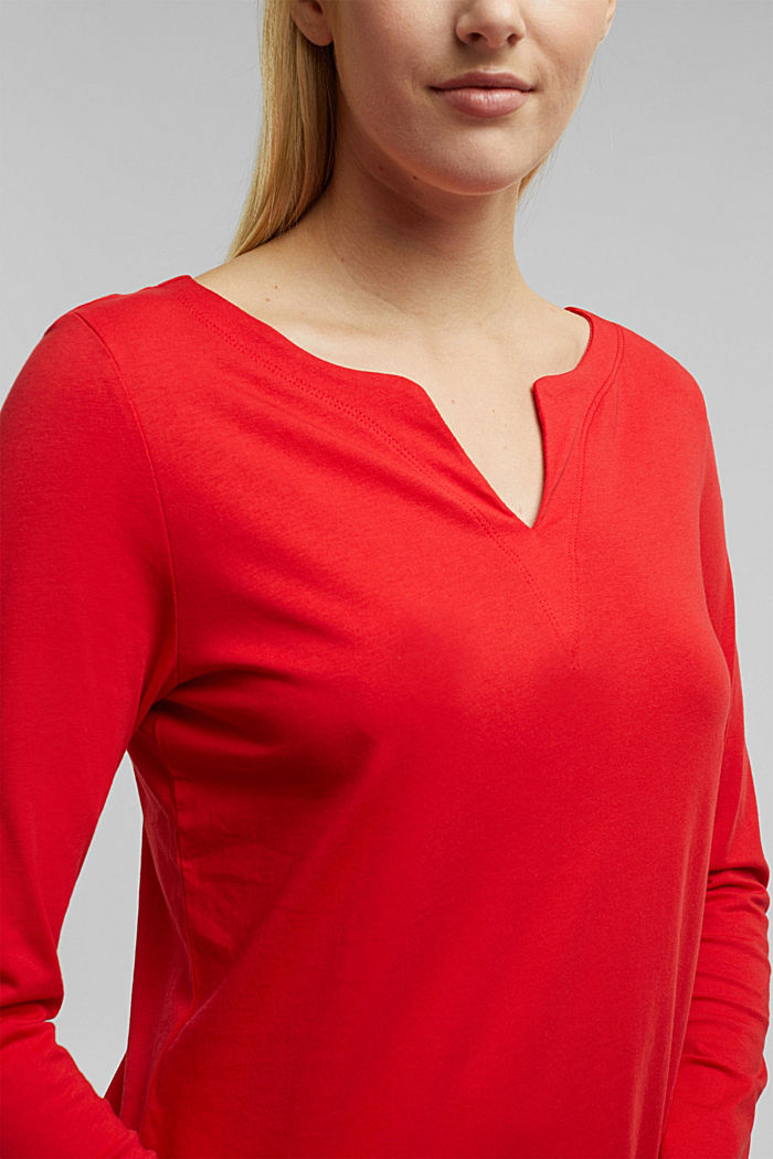 Long sleeve top made of 100% organic cotton, RED, detail image number 2
