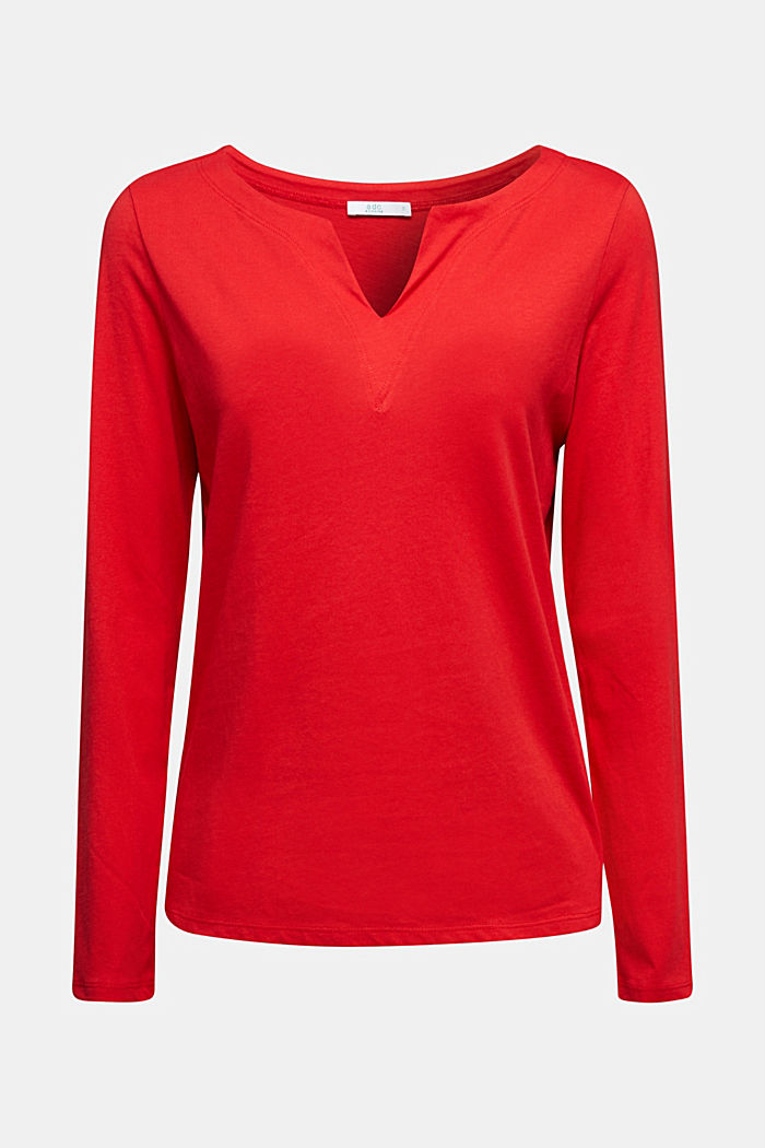 Long sleeve top made of 100% organic cotton, RED, detail image number 5