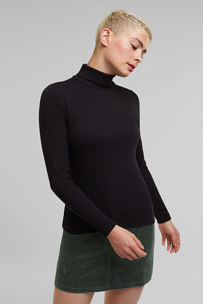 Polo neck long sleeve top, organic cotton, BLACK, detail image number 0