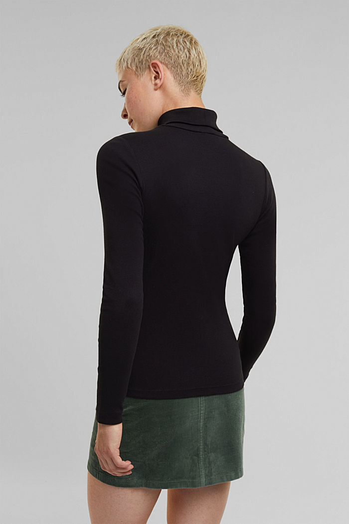 Polo neck long sleeve top, organic cotton, BLACK, detail image number 3