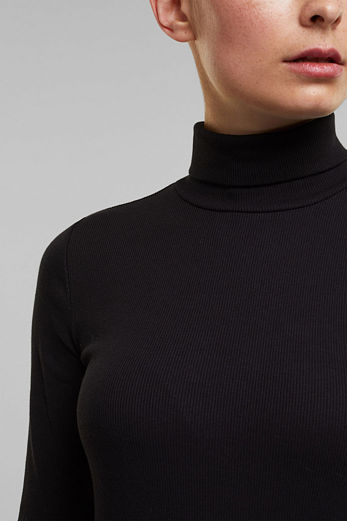 Polo neck long sleeve top, organic cotton, BLACK, detail image number 2
