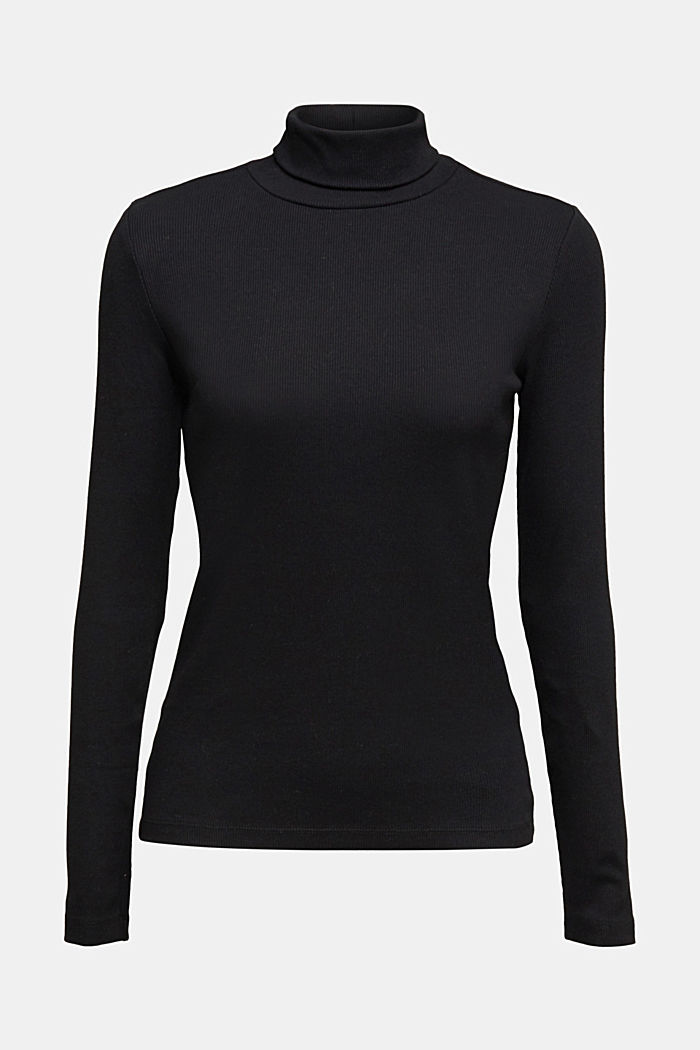 Polo neck long sleeve top, organic cotton, BLACK, detail image number 6