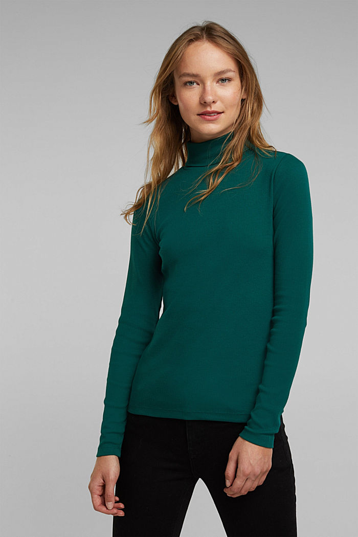 Polo neck long sleeve top, organic cotton, DARK TEAL GREEN, detail image number 0
