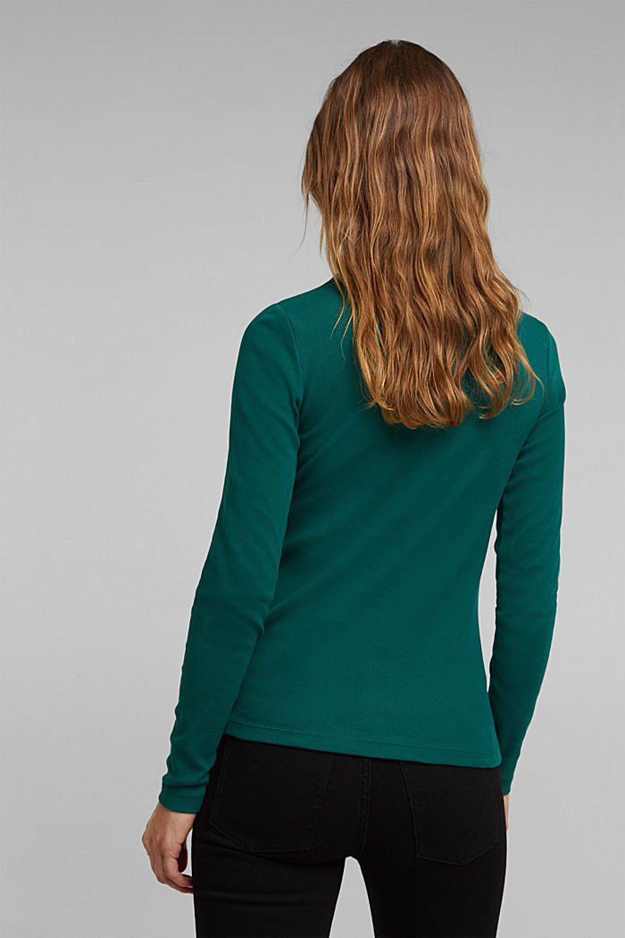 Polo neck long sleeve top, organic cotton, DARK TEAL GREEN, detail image number 3
