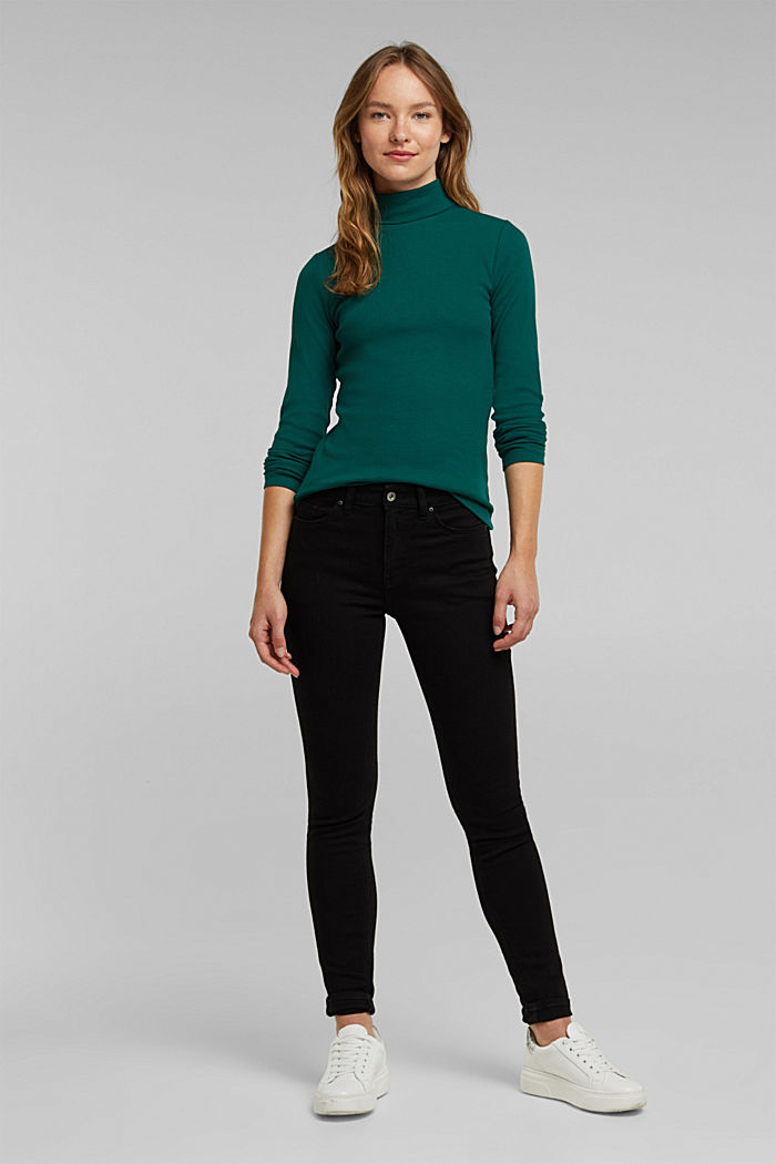Polo neck long sleeve top, organic cotton, DARK TEAL GREEN, detail image number 1
