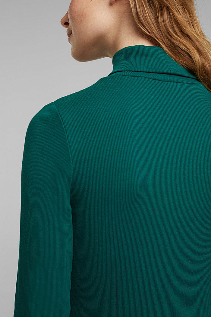 Polo neck long sleeve top, organic cotton, DARK TEAL GREEN, detail image number 2