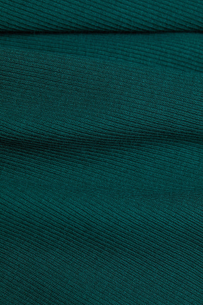 Polo neck long sleeve top, organic cotton, DARK TEAL GREEN, detail image number 4