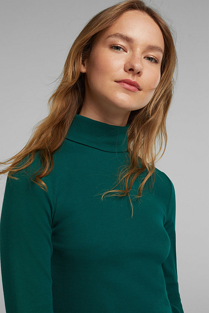 Polo neck long sleeve top, organic cotton, DARK TEAL GREEN, detail image number 5