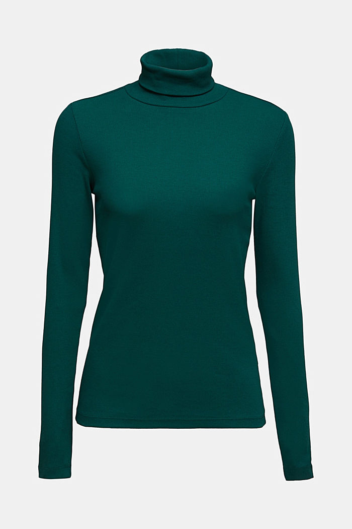 Polo neck long sleeve top, organic cotton, DARK TEAL GREEN, detail image number 6