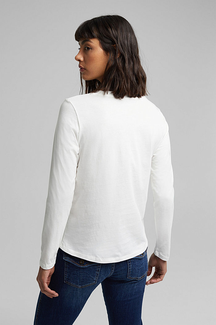 Long sleeve top made of 100% organic cotton, OFF WHITE, detail image number 3