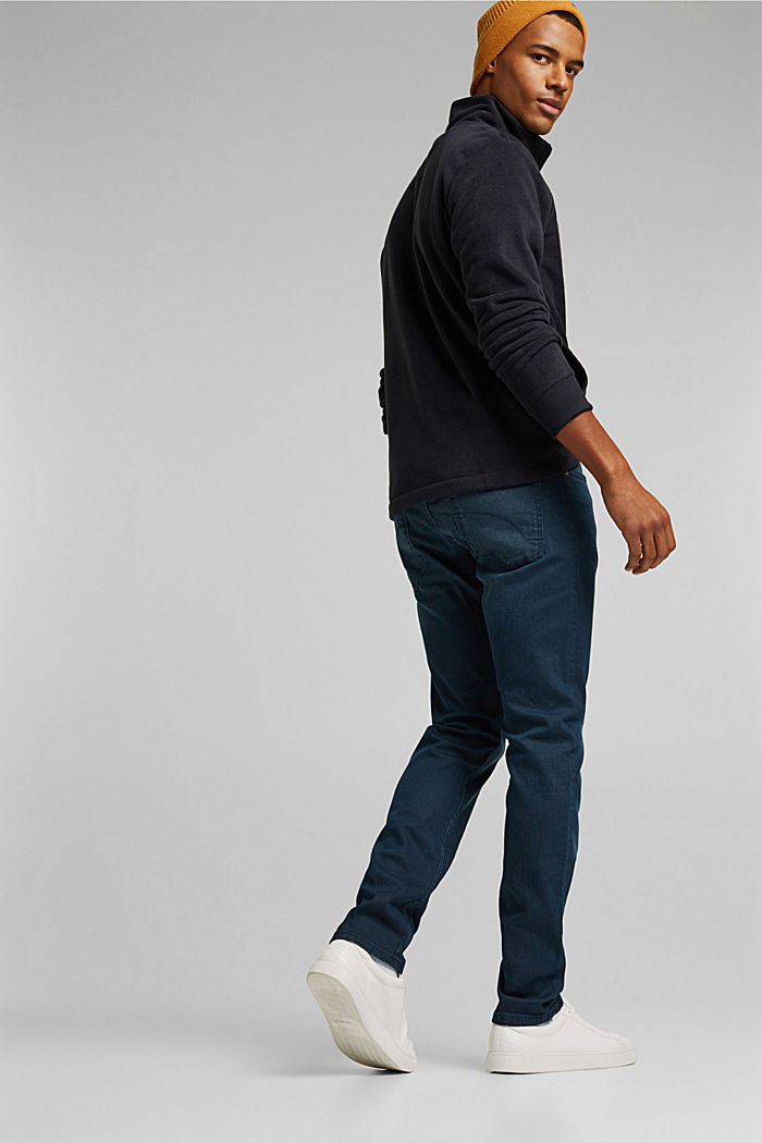 Organic cotton jeans with stretch, BLUE DARK WASHED, detail image number 1