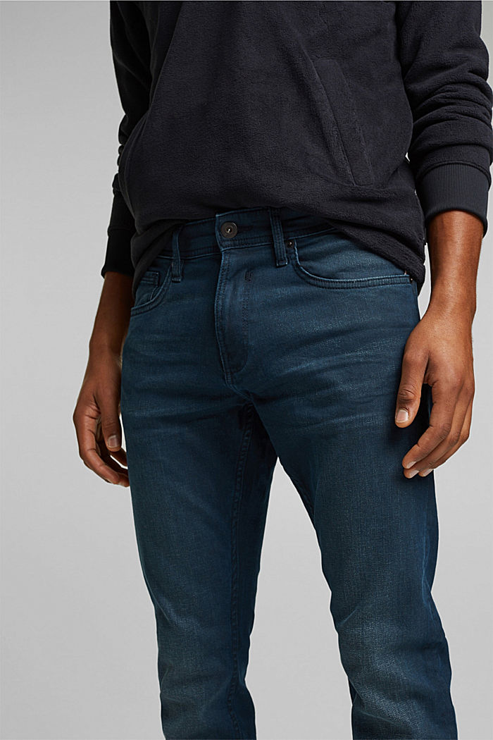 Organic cotton jeans with stretch, BLUE DARK WASHED, detail image number 3