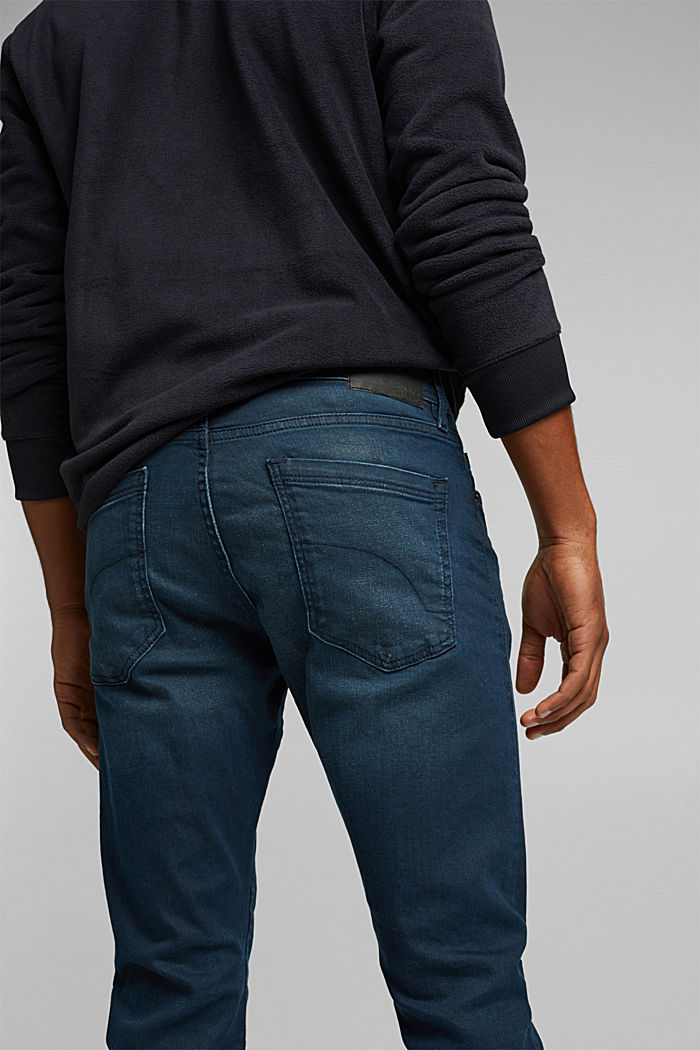 Organic cotton jeans with stretch, BLUE DARK WASHED, detail image number 5
