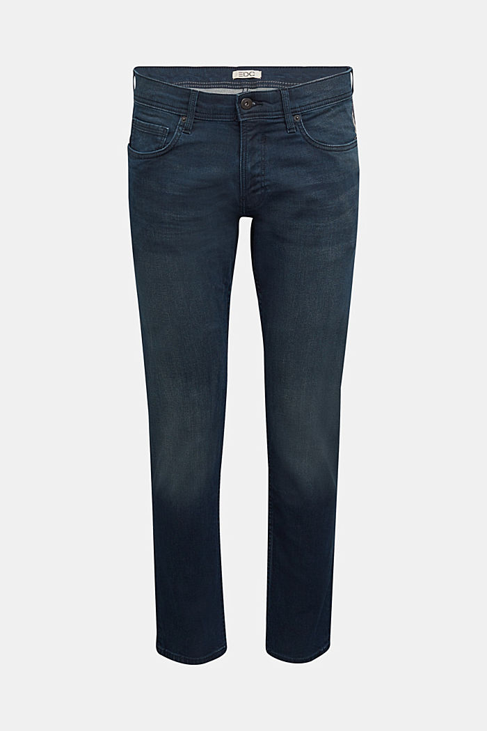 Organic cotton jeans with stretch, BLUE DARK WASHED, overview