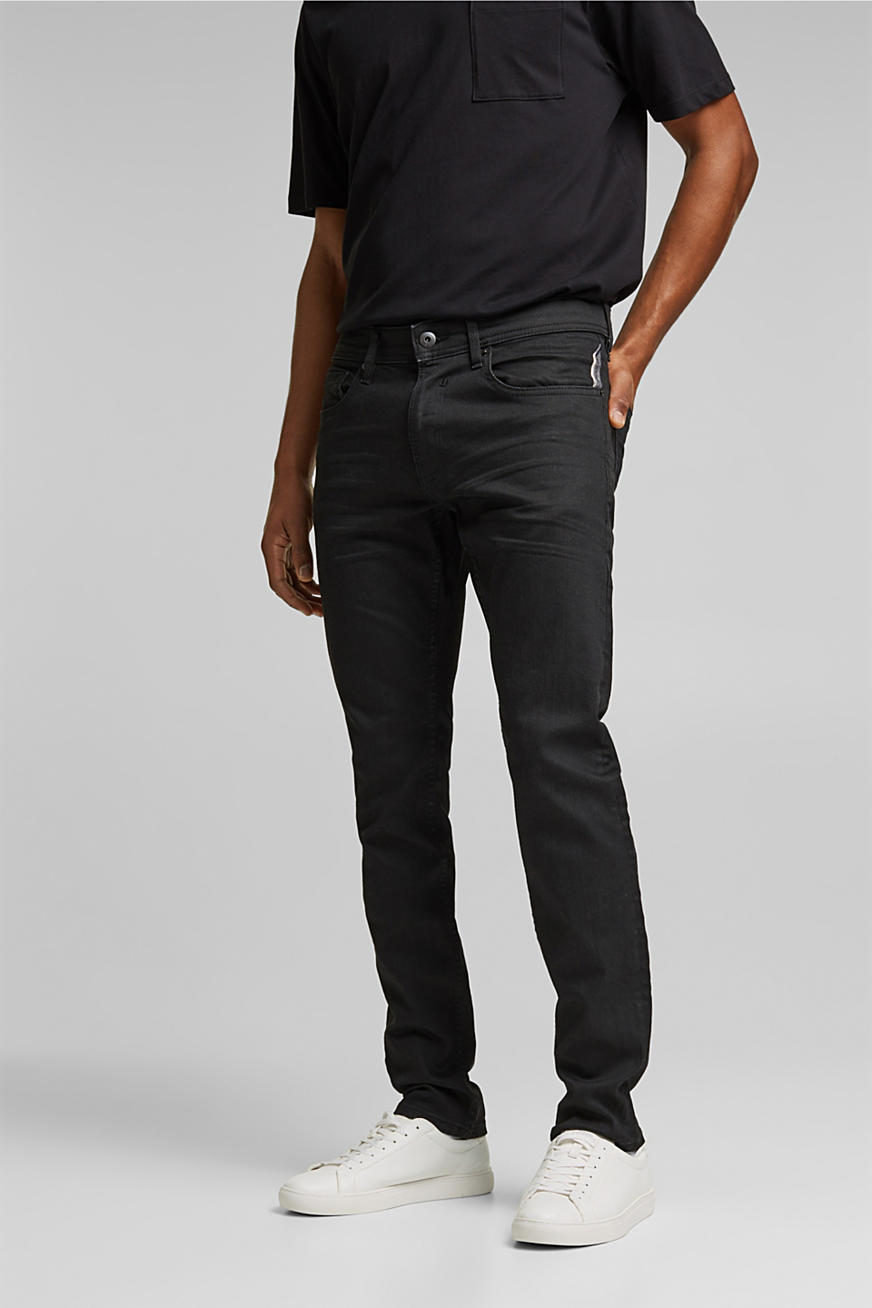 Coated organic cotton jeans with stretch