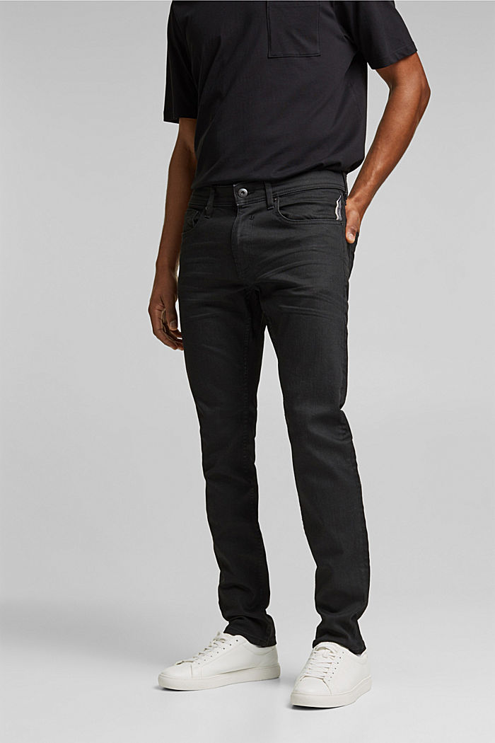 Coated organic cotton jeans with stretch, BLACK RINSE, detail image number 0
