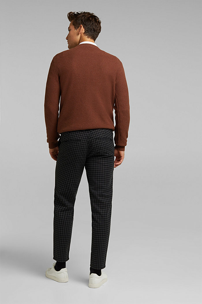 Check chinos with organic cotton, BLACK, detail image number 3