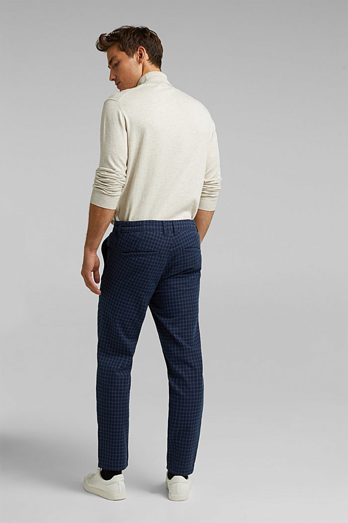 Check chinos with organic cotton, NAVY, detail image number 3