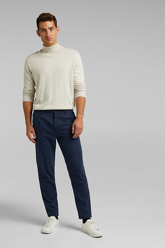 Check chinos with organic cotton, NAVY, detail image number 1