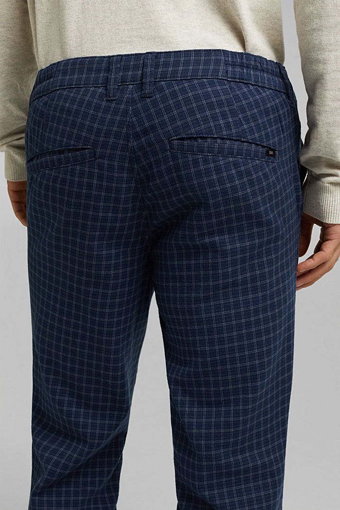 Check chinos with organic cotton, NAVY, detail image number 2
