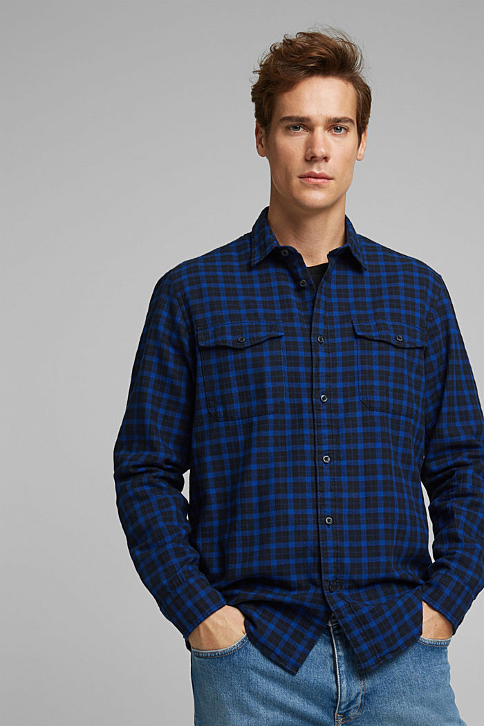 Check shirt made of 100% organic cotton, BLUE, detail image number 0